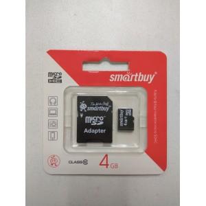 Карта флеш-памяти 4GB Class 10 SmartBuy микро (micro SD) + адаптер SDHC