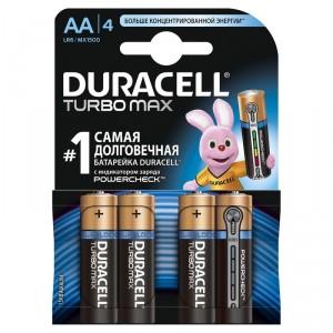 AA Батарейка duracell, 4шт Бельгия (LR6) Turbo Max