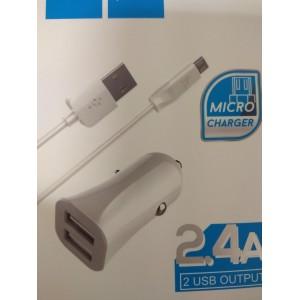 Автомобильная зарядка HOCO Z12 в прикуриватель (АЗУ) 2 USB для телефонов по 2,4A  + кабель микро