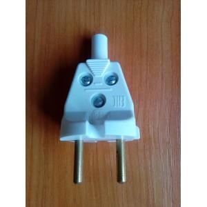 Вилка электрическая прямая без заземления, белая, 6А 250В