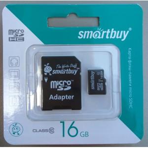 Карта памяти SmartBuy микро (micro) + адаптер SDHC 16GB (гб) Class 10